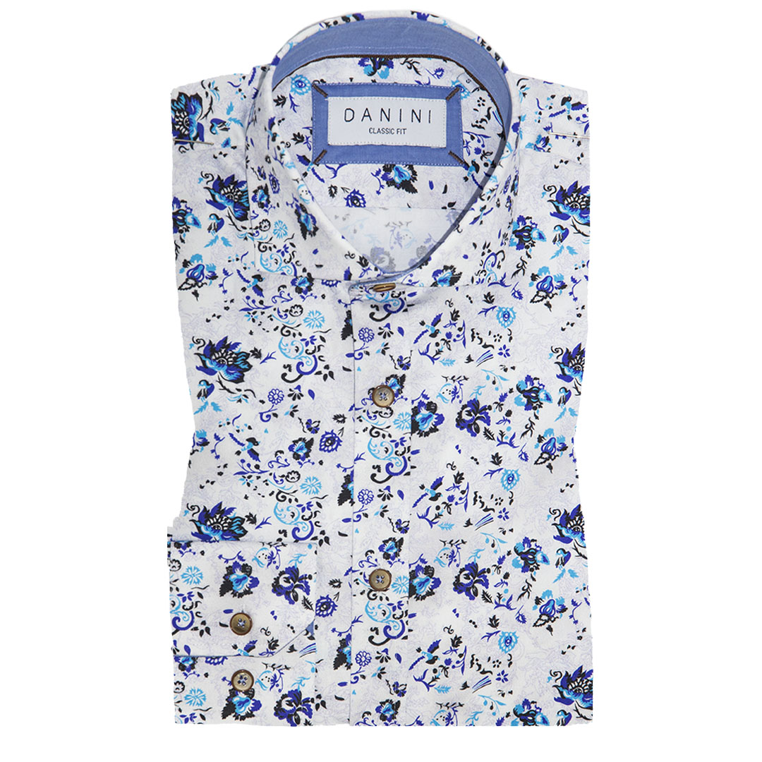 Multi Blue Intricate Floral on White Sport Shirt