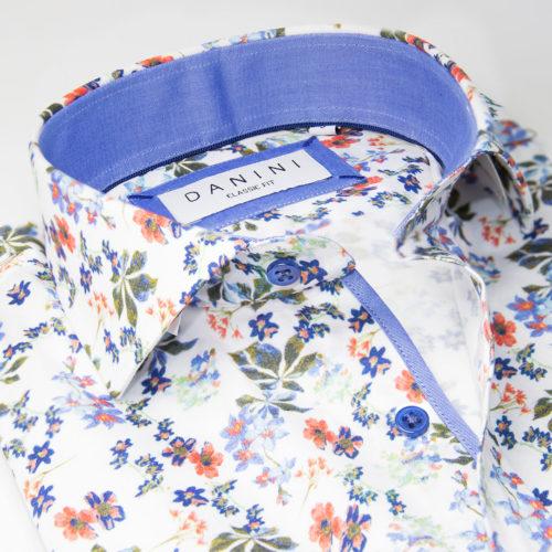 Tropical Floral Splash on White Sport Shirt