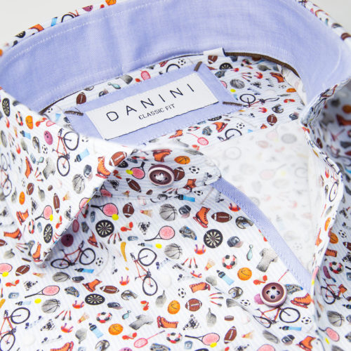 Multi-Coloured Sports Objects on White Sport Shirt