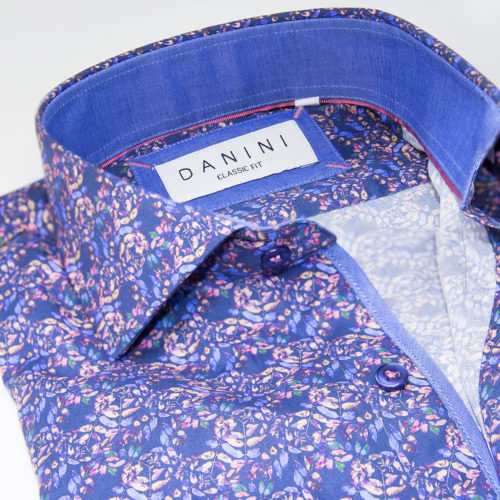 Blue and Pale Pink Eclectic Fusion Sport Shirt