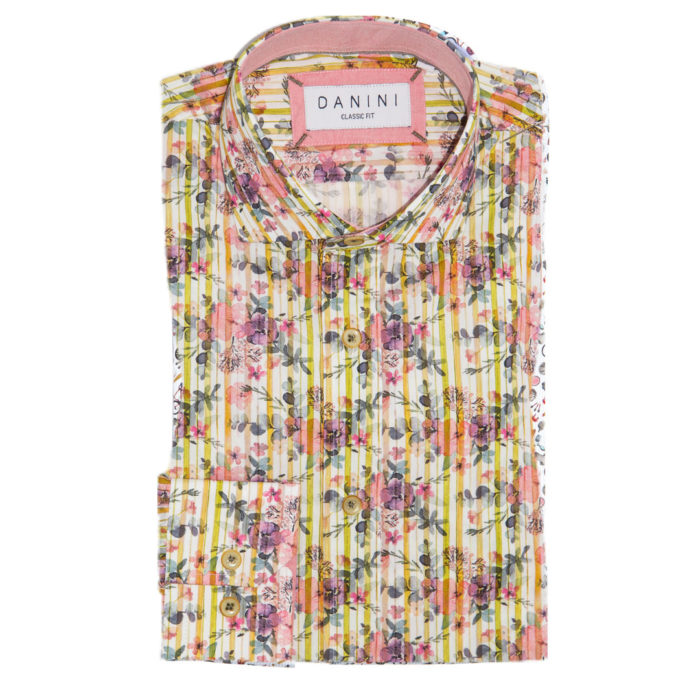 Pink Floral and Lime Green Stripes on White Sport Shirt