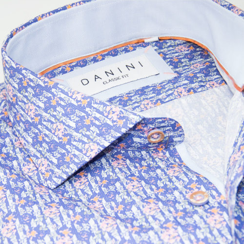 Pale Pink Floral Fusion on Blue-Grey Sport Shirt