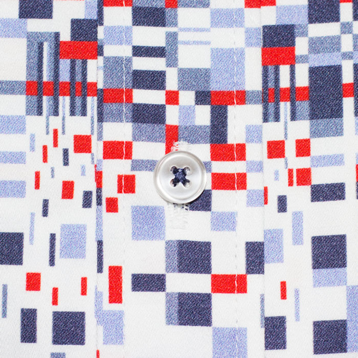 Multi-Blue and Red Eclectic Grid on White Sport Shirt