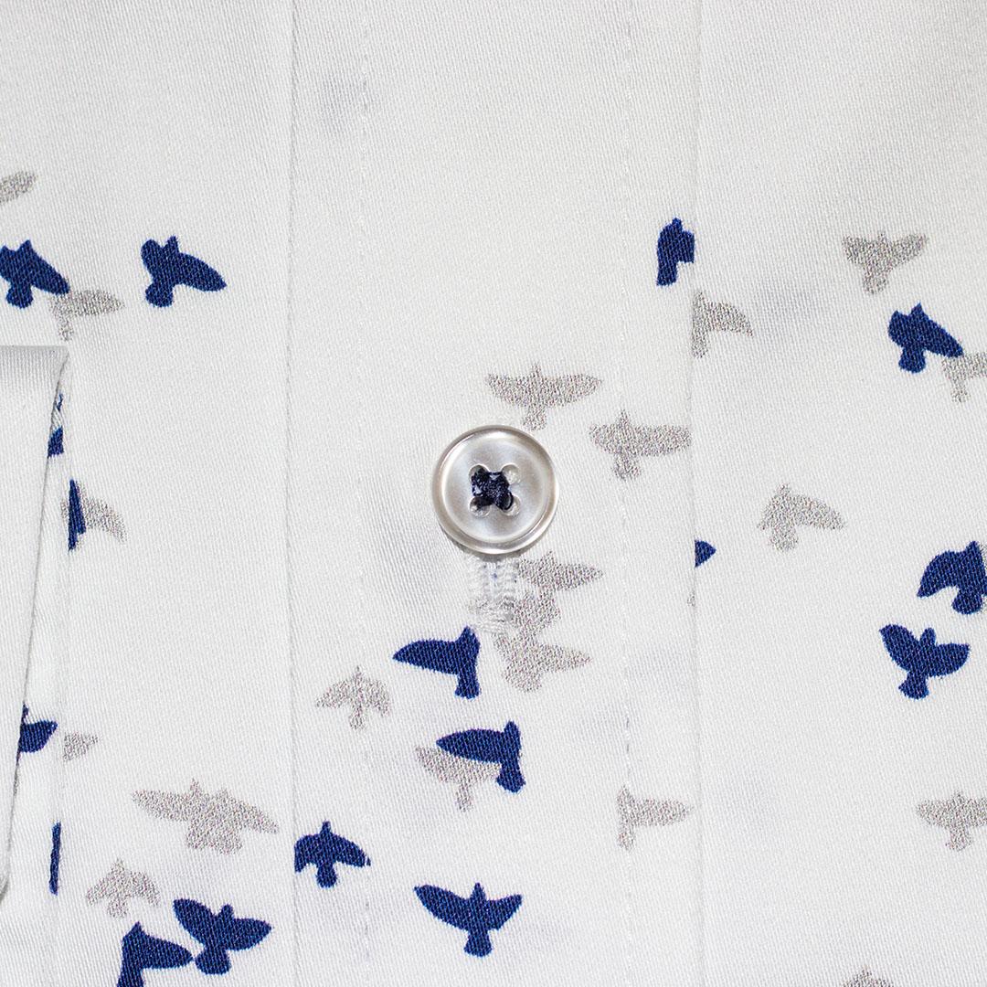 Blue-Grey Birds in Flight on White Sport Shirt