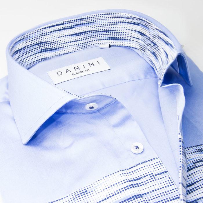 Shaded Blue Panel on Sky Blue Sport Shirt