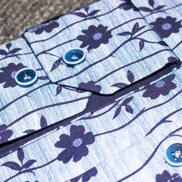 Deep Blue Striped Floral on Light Blue Sport Shirt