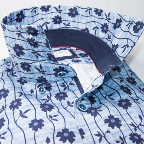 Deep Blue Striped Floral on Light Blue Sport Shirt