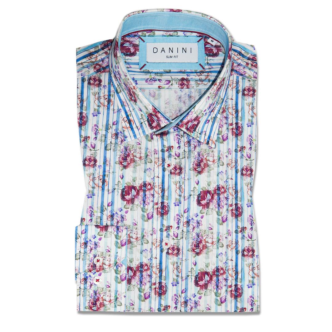 Crimson Floral on Blue Striped Sport Shirt