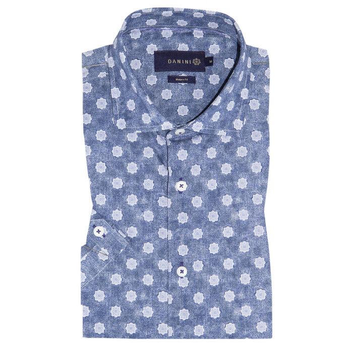 Grey Star Flowers on Charcoal Grey Short Sleeve Modern Fit Shirt