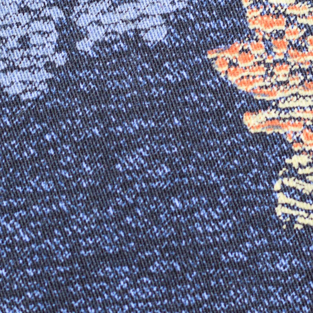 Pink, Blue Floral Splatter on Denim Blue Sport Shirt