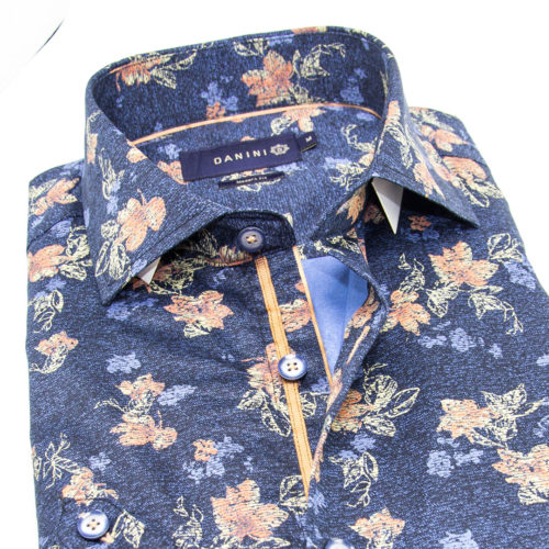 Pink, Blue Floral Splatter on Denim Blue Sport Shirt