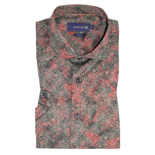 Crimson-Grey Leaves on Deep Charcoal Short Sleeve Modern Fit Shirt
