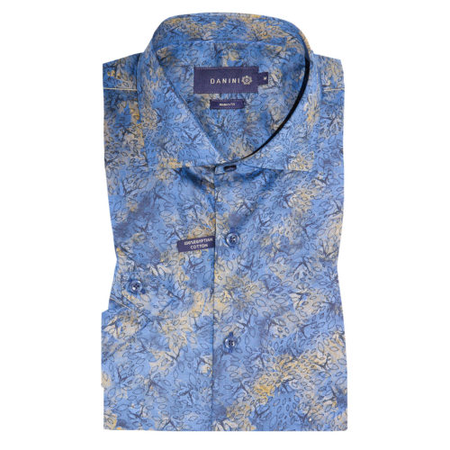 Blue-Brown Leaves on Shaded Blue Short Sleeve Modern Fit Shirt