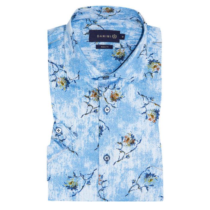 Brown Floral on Light Washed Blue Short Sleeve Modern Fit Shirt