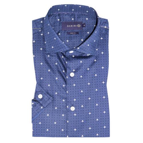 Diamonds and Dots on Cobalt Blue Short Sleeve Modern Shirt