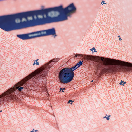 Navy Blue Micro Diamond on Orange Grid Short Sleeve Modern Fit Shirt