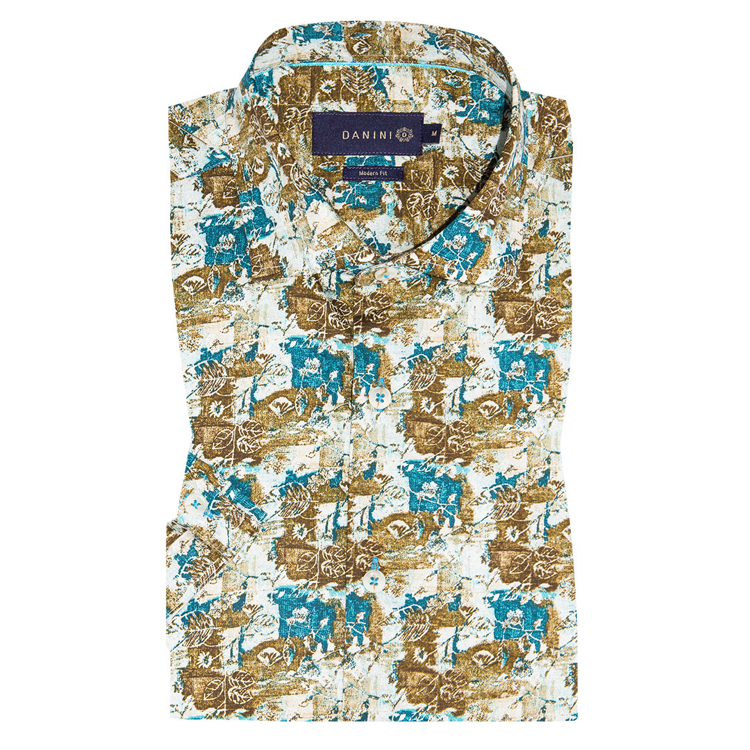 Brown and Blue Splatter on White Short Sleeve Modern Fit Shirt