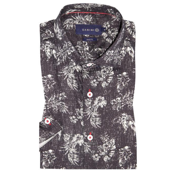White Fern on Charcoal Black Short Sleeve Modern Fit Shirt