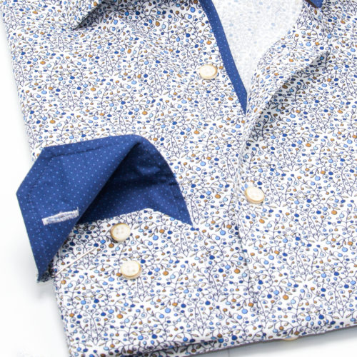 Rust, Blue Micro Dots with Blue Trim Sport Shirt