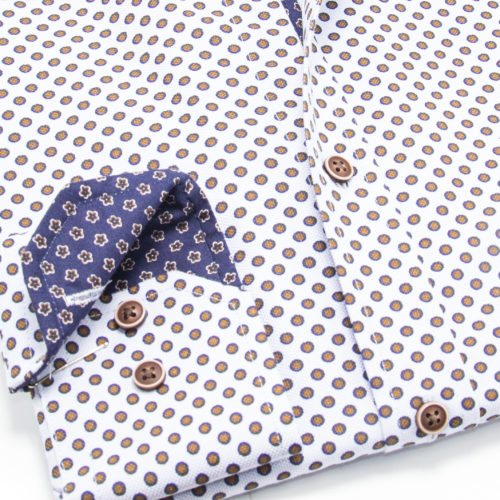 Blue Bordered Brown Polka on White Sport Shirt