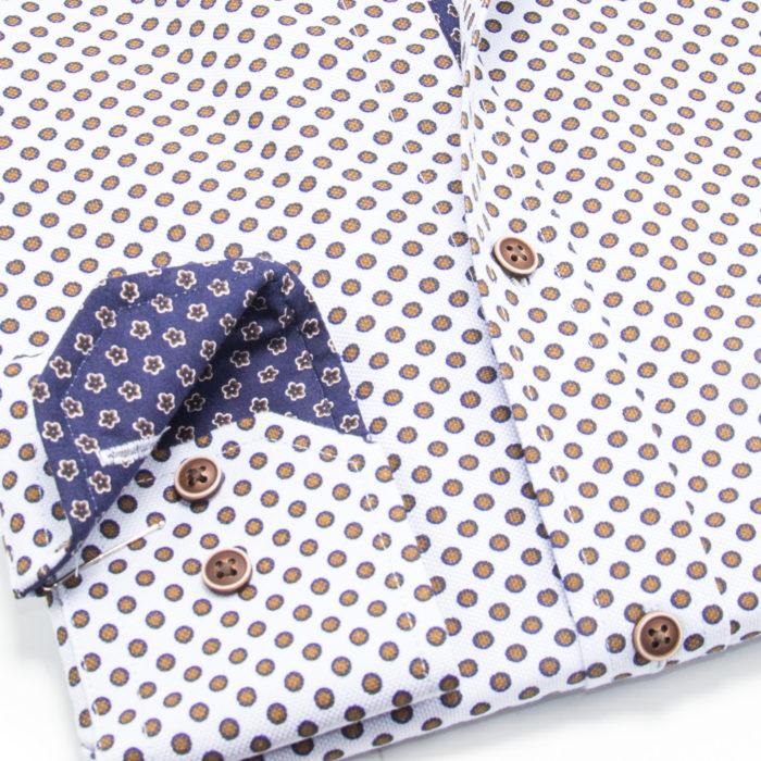 Blue Bordered Brown Polka on White Sport Shirt