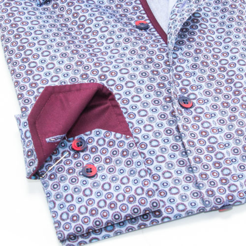 Plum-Bordered Circles and Trim on Blue Sport Shirt