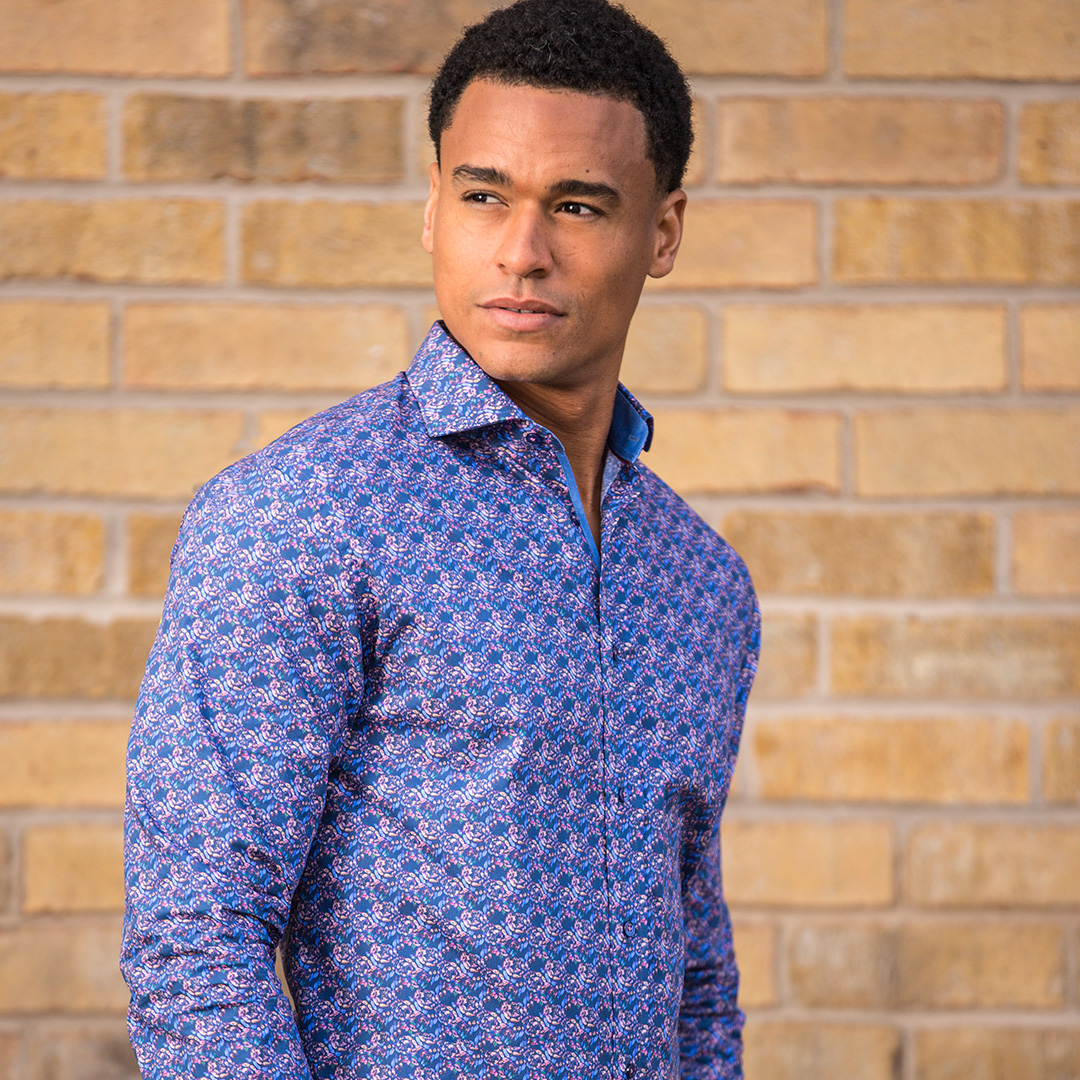 Blue Printed Men's Shirt