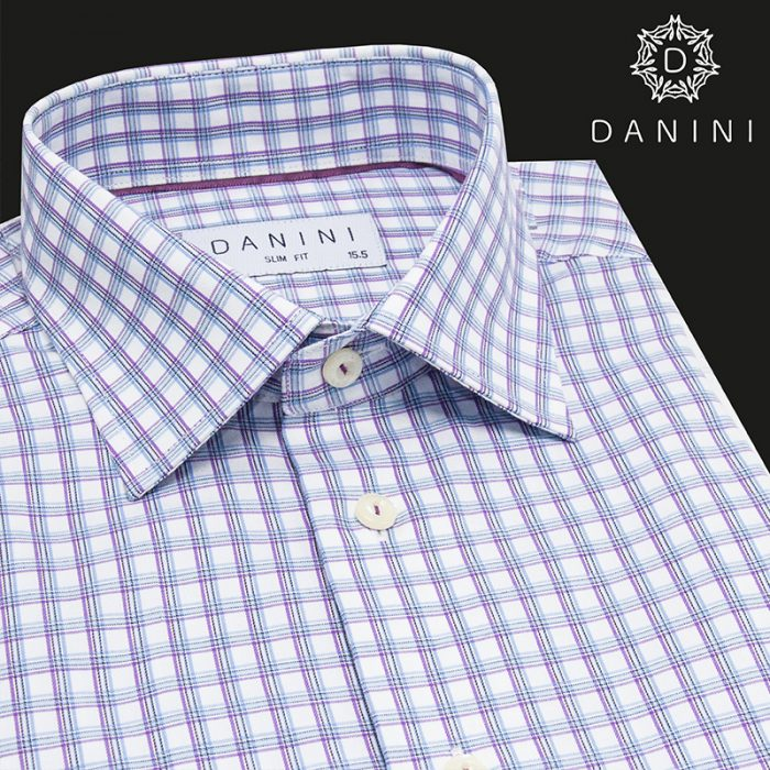 Sky Blue and Purple Check Dress Shirt