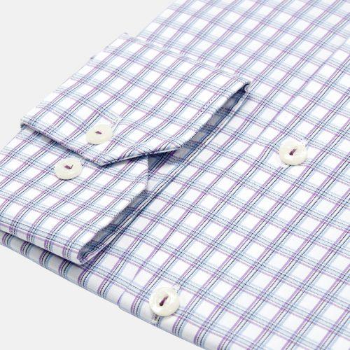 Sky Blue and Purple Check Dress Shirt