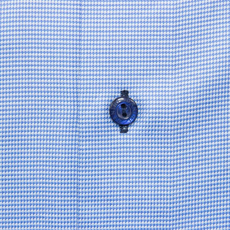 Dense Blue and White Micro Grid Dress Shirt