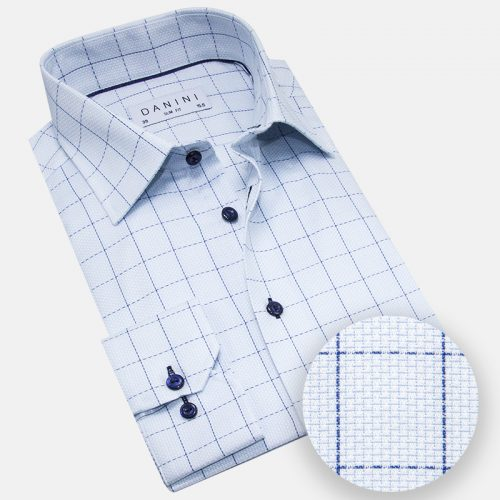 Deep Blue Windowpane with Light Blue Dobby Dress Shirt