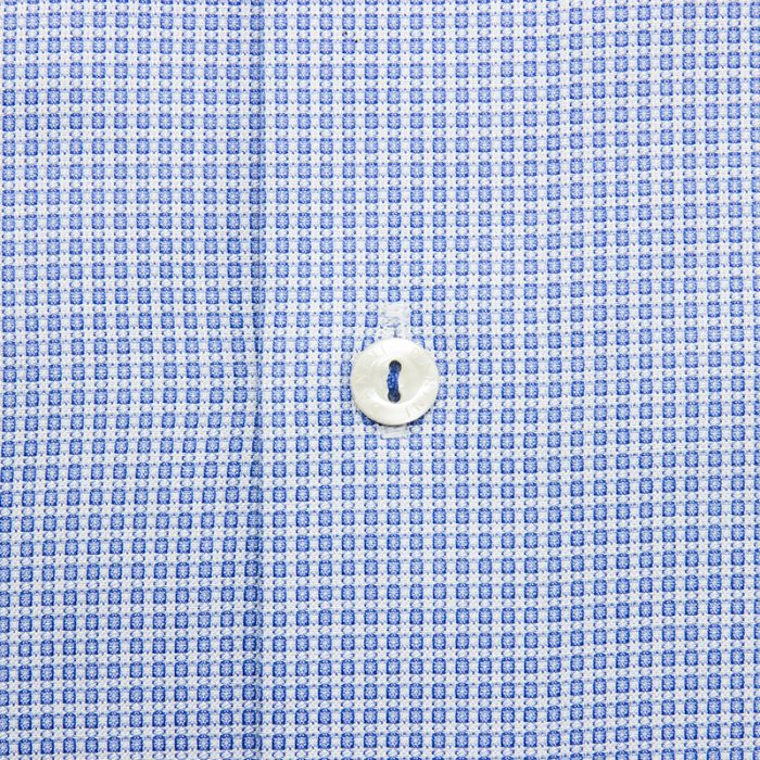 Blue Snowflake Micro Grid Dress Shirt