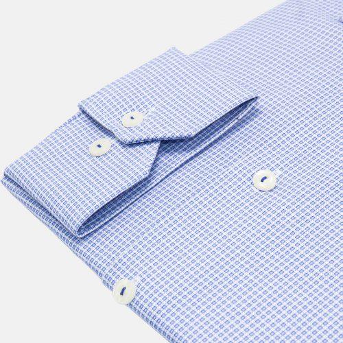 Blue Snowflake Micro Grid Dress Shirt