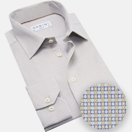 Blue and Beige Micro Box Dress Shirt