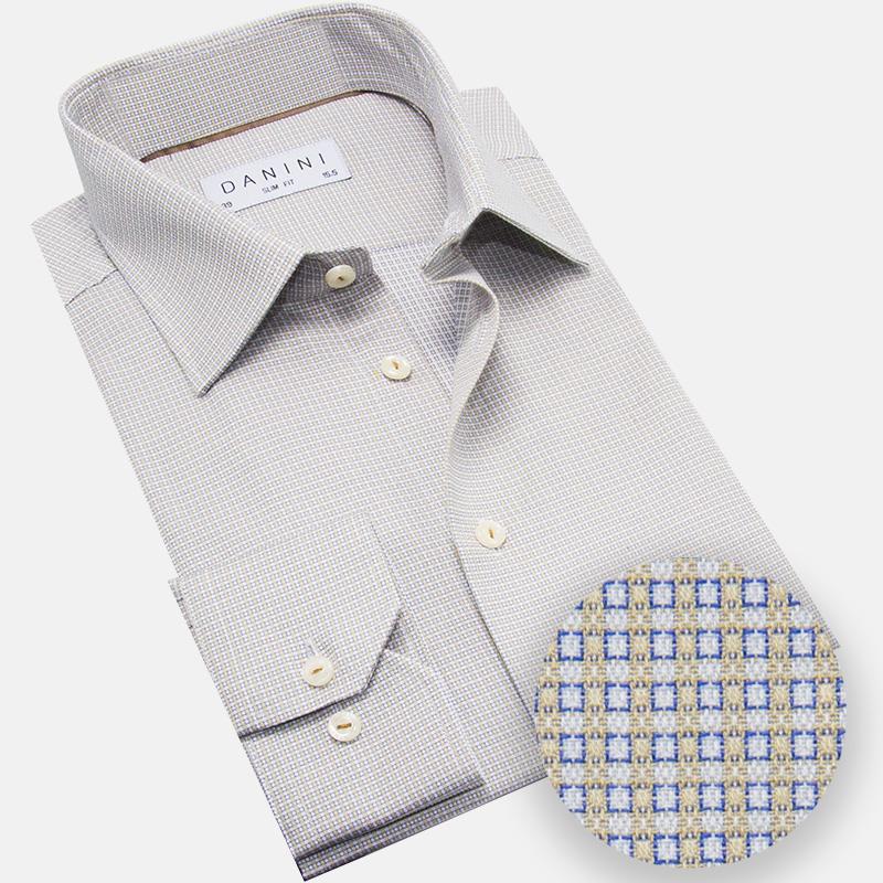 Blue and Beige Micro Box Dress Shirt