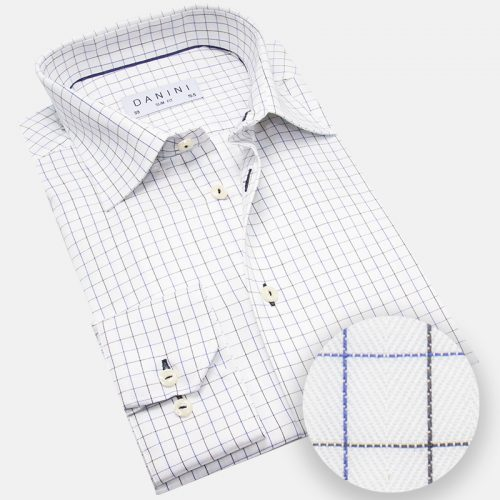 Deep Blue and Black Stripped Windowpane Dress Shirt