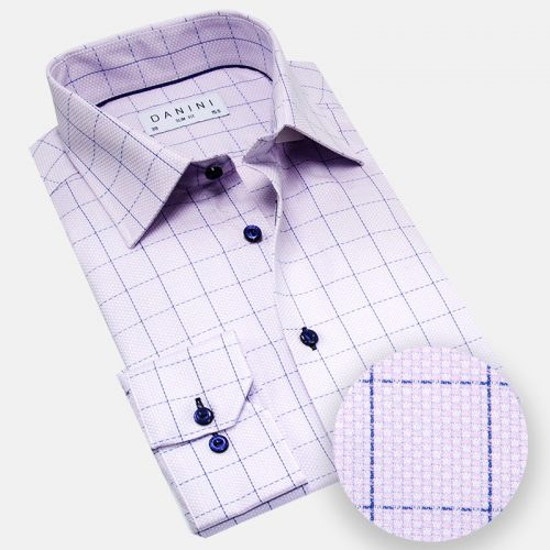 Purple and Blue Dobby Windowpane Dress Shirt