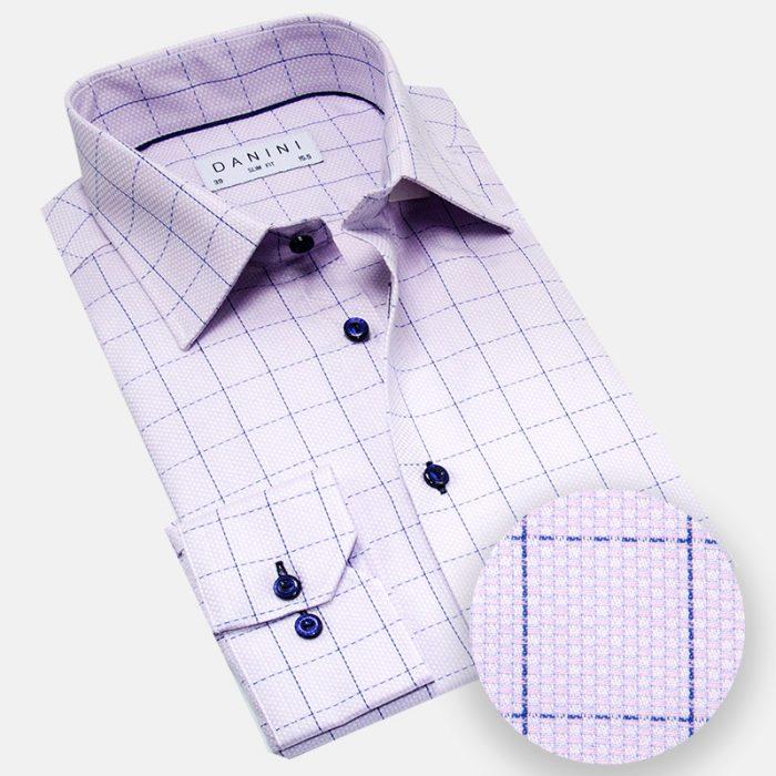 Purple and Blue Dobby Windowpane Dress Shirt