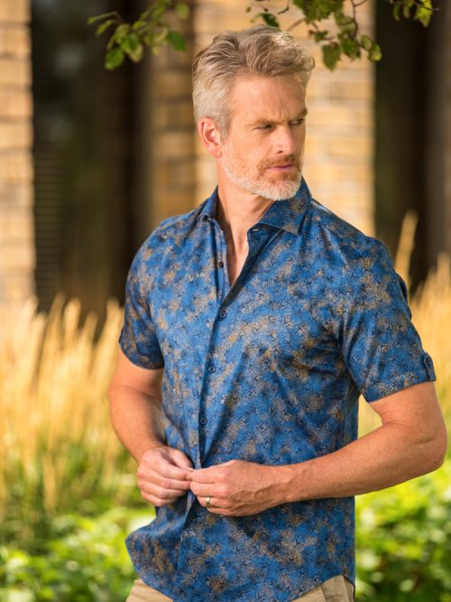 Blue Short Sleeve Modern Fit Shirt