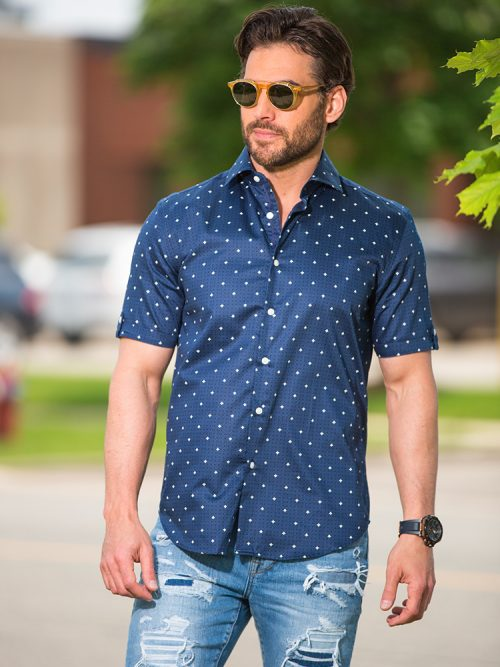 Blue Short Sleeve Modern Shirt