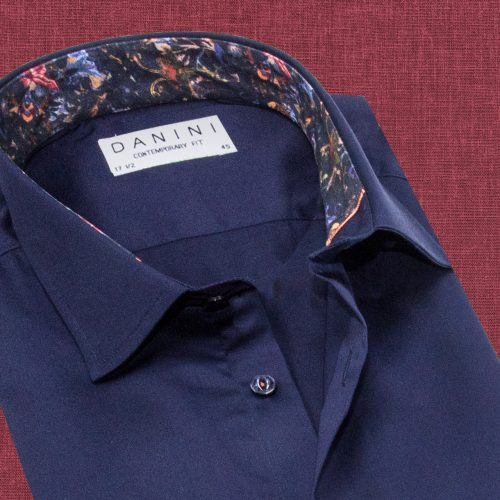 Dark Blue Trendy Collar Shirt