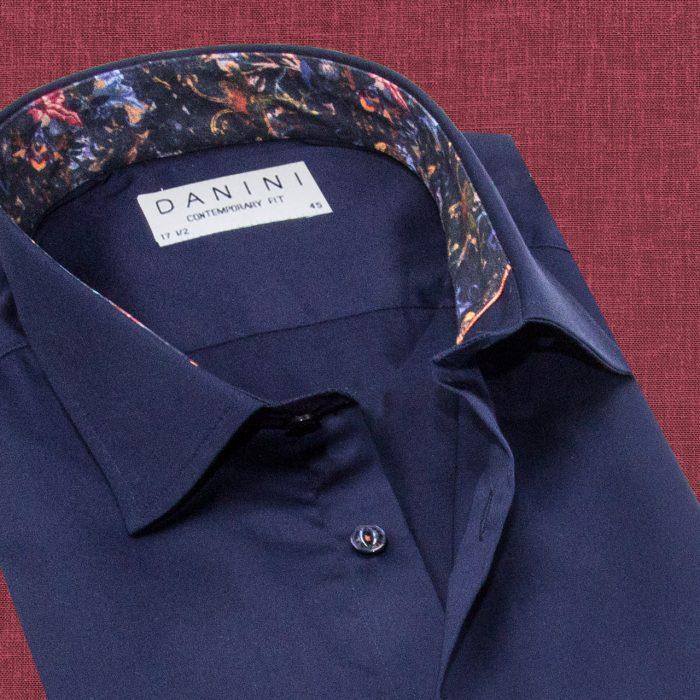 Dark Blue Trendy Collar Shirt
