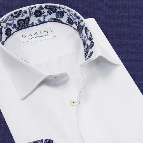 Men's White Trendy Collar Shirt