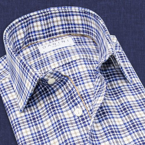 Blue Check White Button Shirt