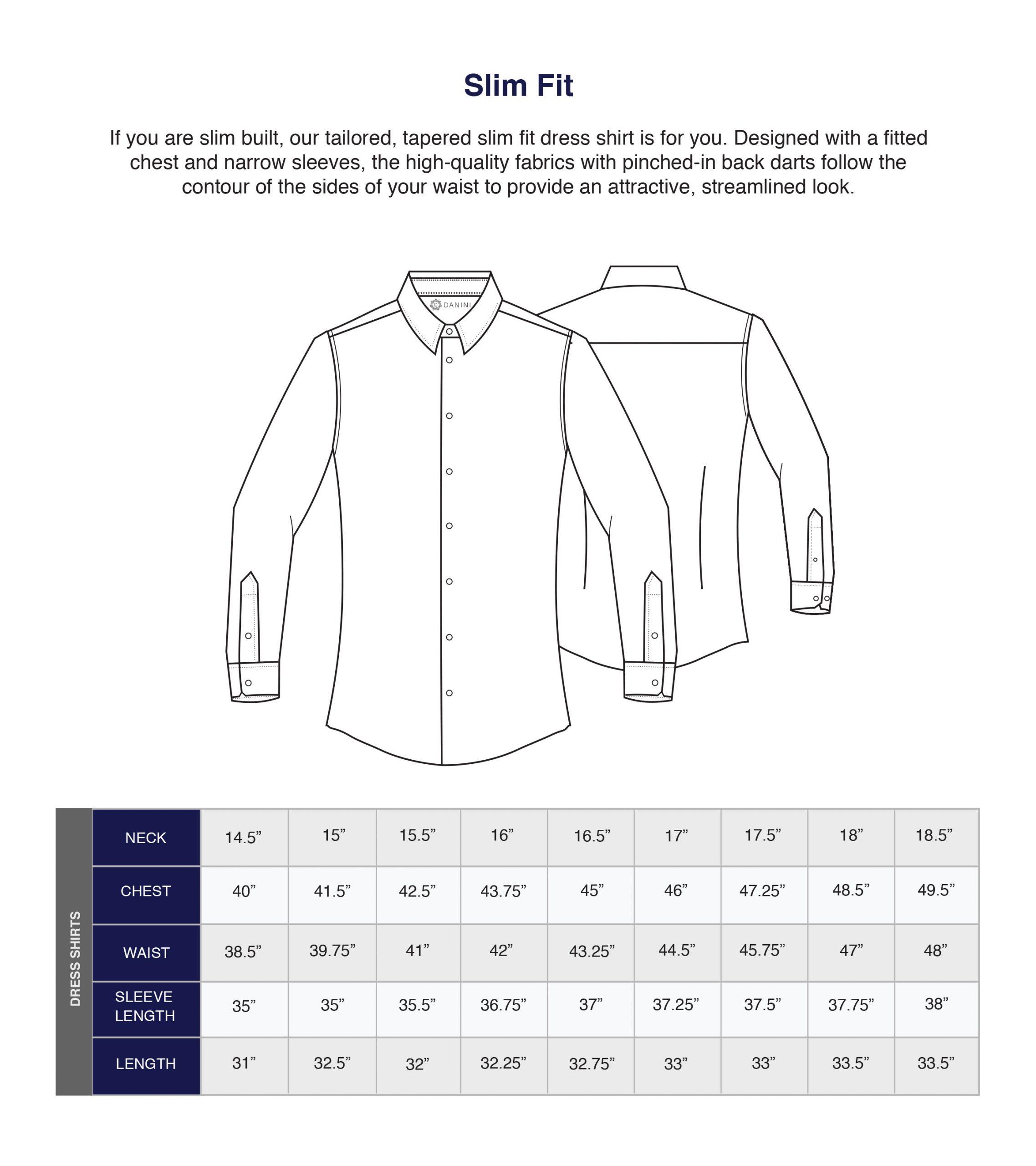 Danini Size Guide Shirts