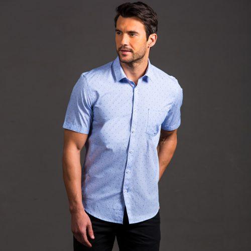 Blue Short Sleeve Collar Shirt