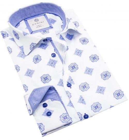 White Shirt with Stylish Blue Prints - Best Long Sleeve Shirts Canada - Danini
