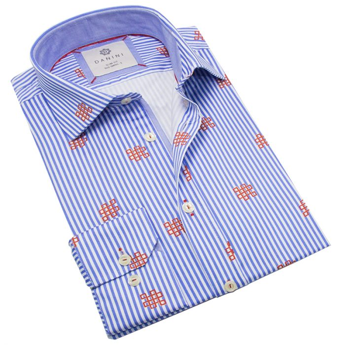 Stylish Men's Light Blue Shirt with Designer Print and Lining - Danini