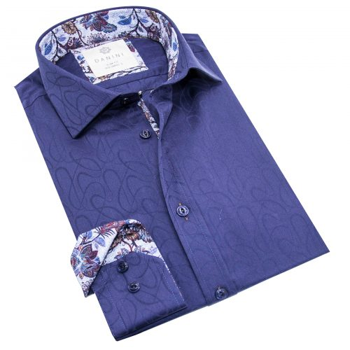 Dynamic Dark Blue with Stylish Collar Shirt - Long Sleeve Shirts Canada-Danini
