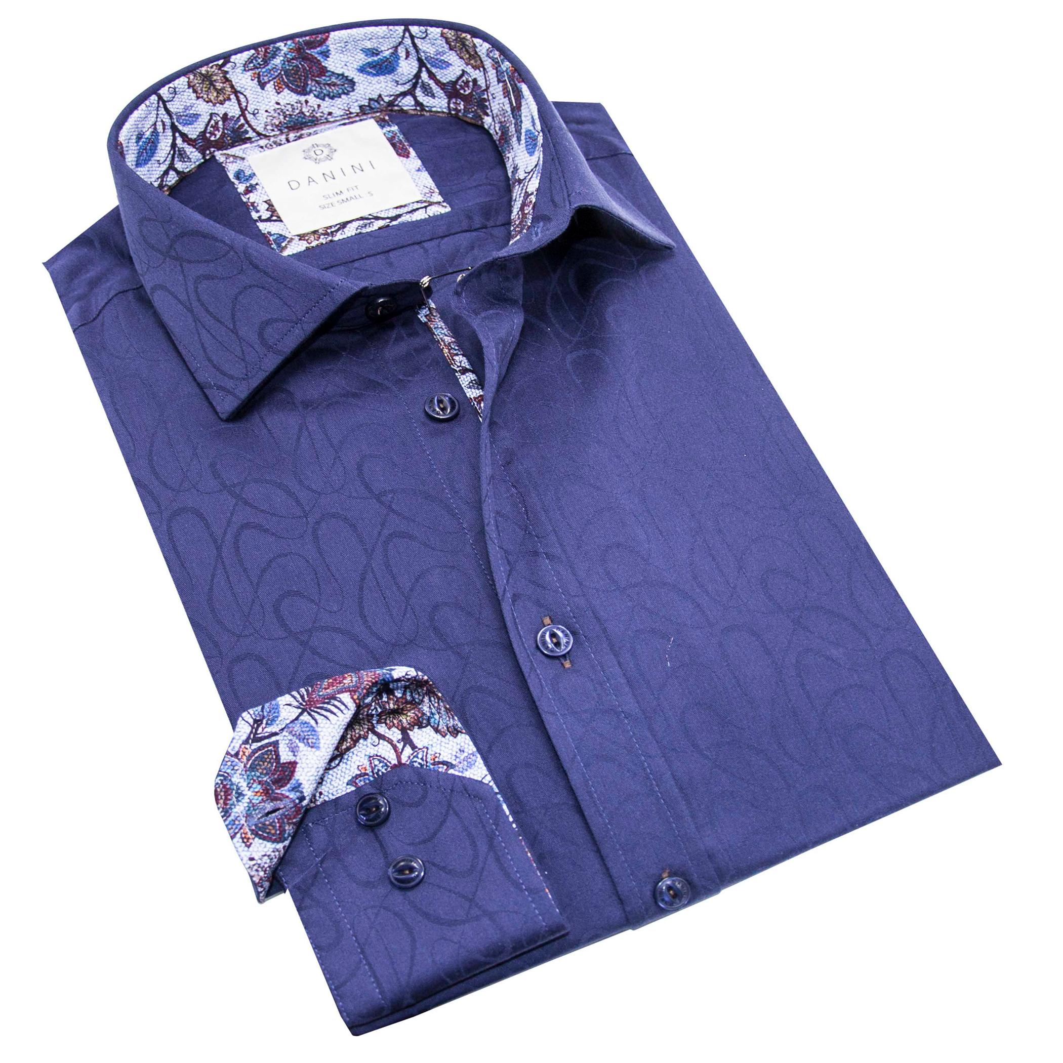 Dynamic Dark Blue with Stylish Collar Shirt - Long Sleeve Shirts Canada-Danini